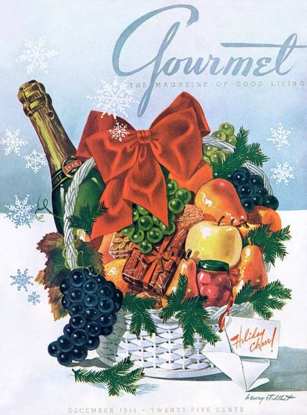 Champagne Photograph - Gourmet Cover Illustration Of Holiday Fruit Basket by Henry Stahlhut