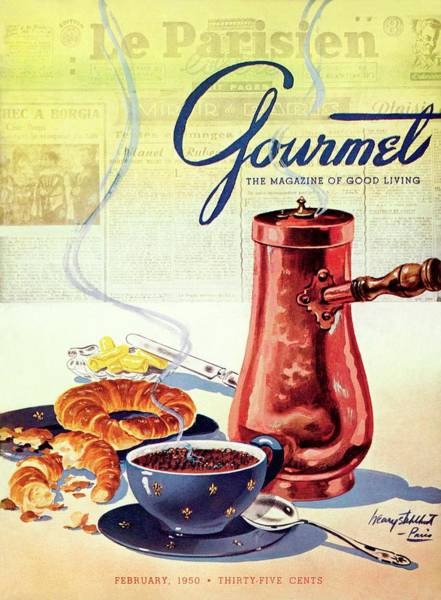 Gourmet Cover Of A French Breakfast Art Print by Henry Stahlhut