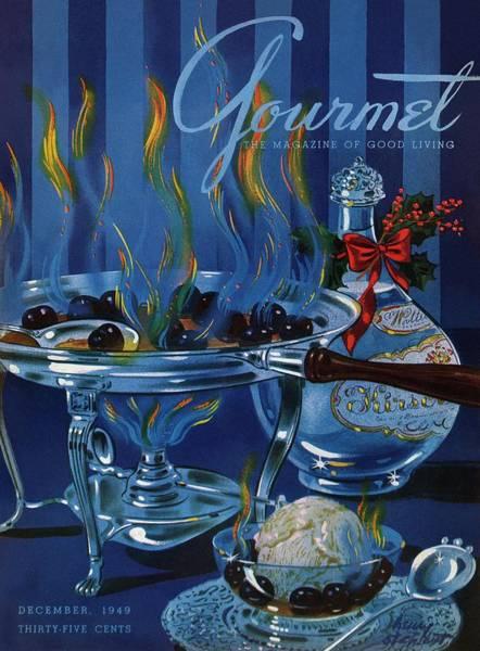 Gourmet Cover Of Cherry Flambe Art Print by Henry Stahlhut