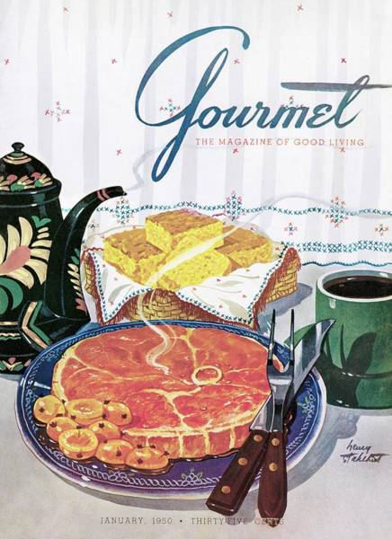 Basket Photograph - Gourmet Cover Of Ham And Cornbread by Henry Stahlhut