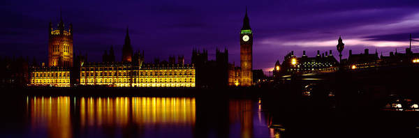Houses Of Parliament Wall Art - Photograph - Government Building Lit Up At Night by Panoramic Images