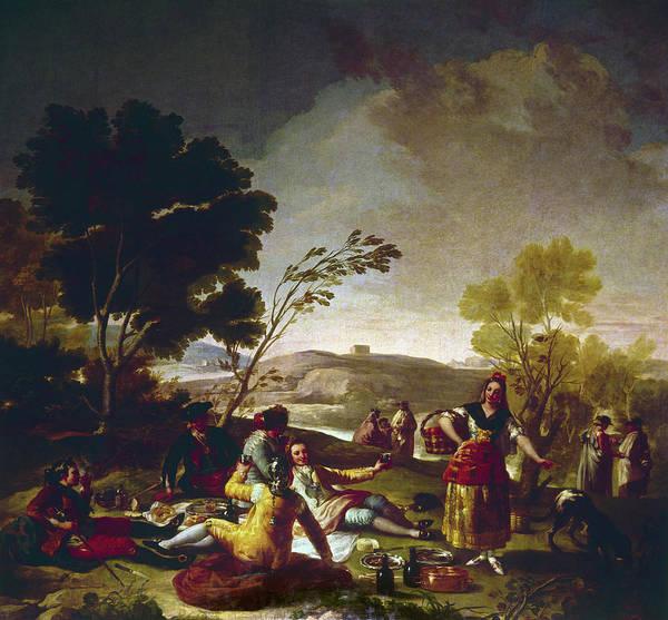 Spanish Wine Painting - Goya Picnic, 1776 by Granger