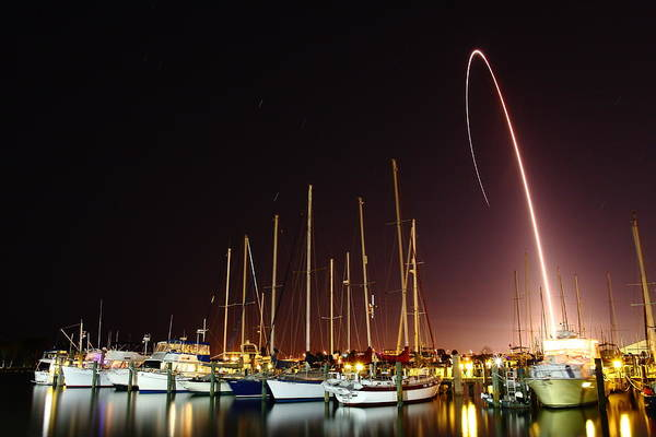 Delta Iv Photograph - Gps Launch Over The Marina by John Moss