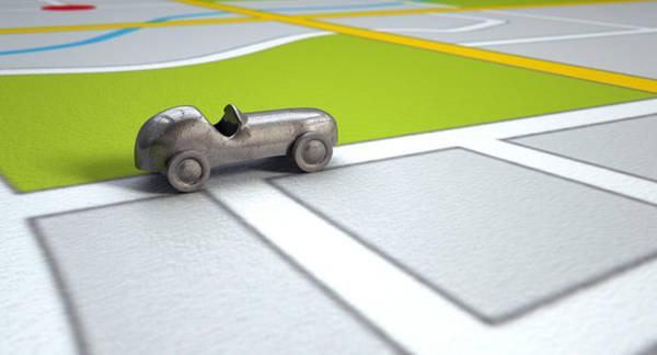 Wall Art - Digital Art - Gps Map With Metal Toy Car by Allan Swart