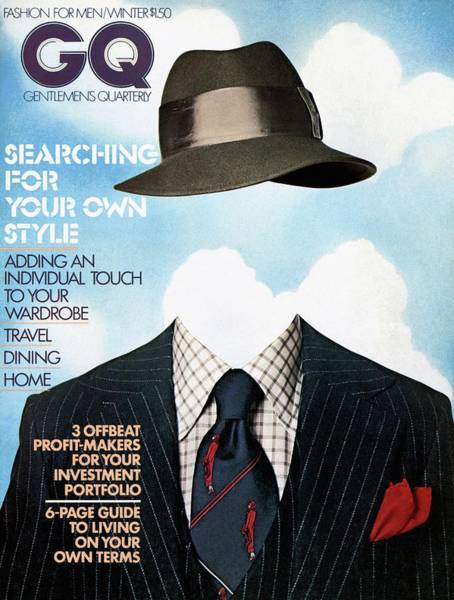 Stripe Photograph - Gq Cover Featuring A Clothes On Top by  Victor Valla & Eric Meola