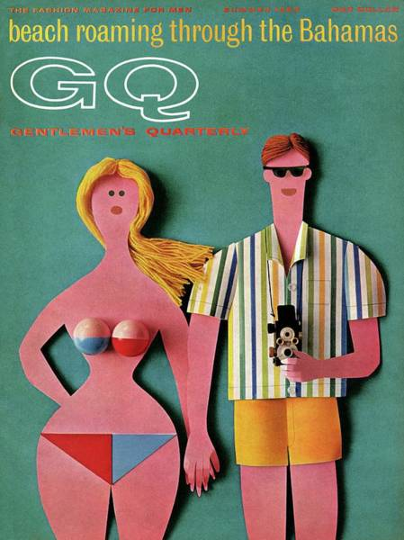 Swimwear Photograph - Gq Cover Featuring A Paper Cut Out Couple by Robert Jackson