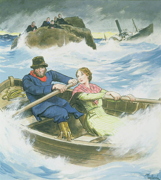 Shipwreck Drawing - Grace Darling And Her Father Rescuing by Trelleek