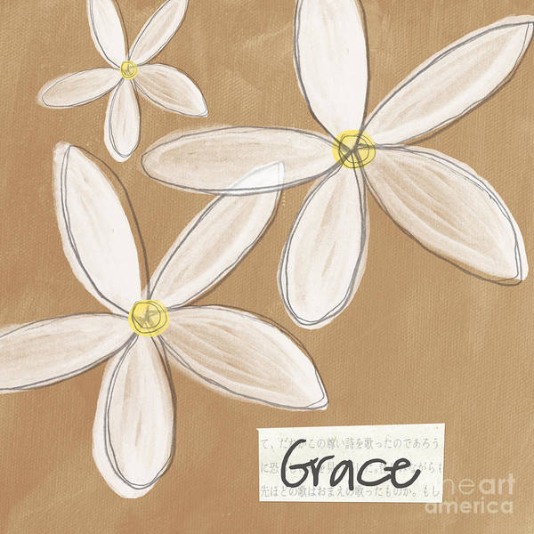 Words Mixed Media - Grace by Linda Woods