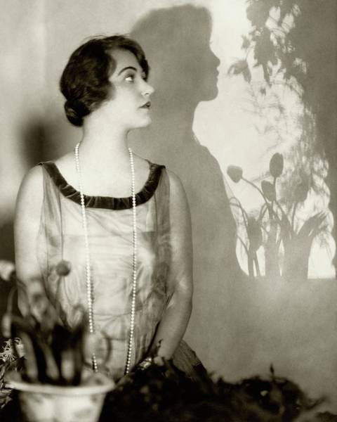 Singer Photograph - Grace Moore Wearing A Pearl Necklace by Edward Steichen