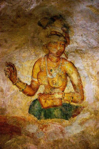 Golden Princess Photograph - Graceful Absara. Sigiriya Cave Painting by Jenny Rainbow