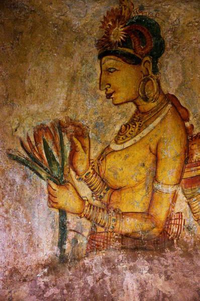 Golden Princess Photograph - Graceful Apsara With Lotus. Sigiriya Cave Painting by Jenny Rainbow