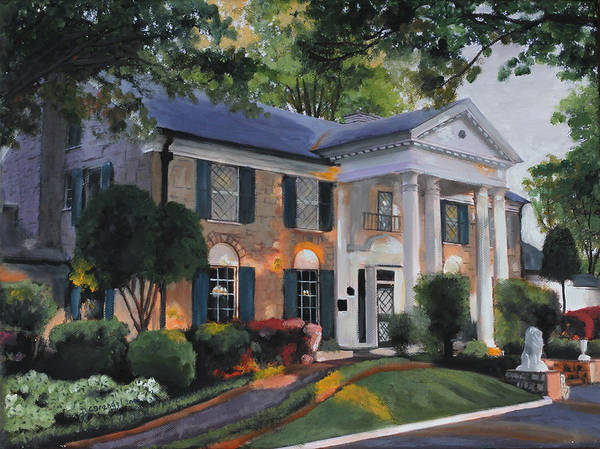 Wall Art - Painting - Graceland Home Of Elvis by Cecilia Brendel