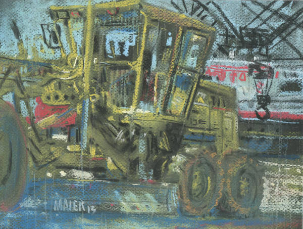 Construction Painting - Grader by Donald Maier