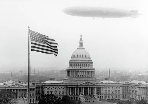 Us Capitol Photograph - Graf Zeppelin Over Washington Dc by Library Of Congress/science Photo Library