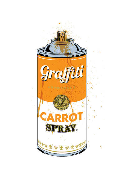 Digital Art - Graffiti Carrot Spray Can by Gary Grayson