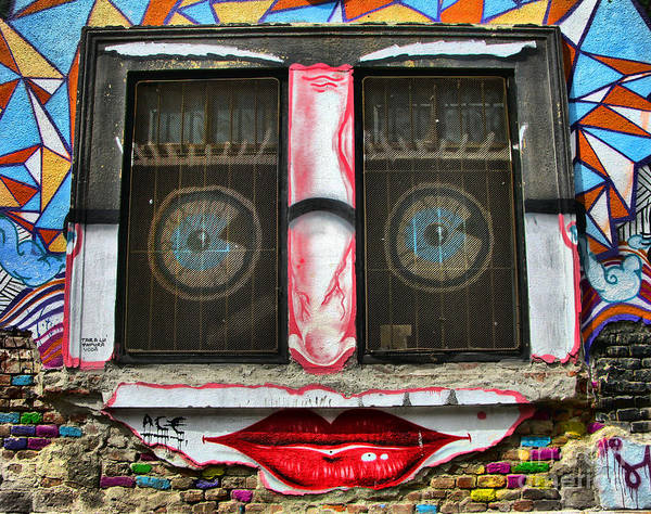 Photograph - Graffiti City Walls -  Happy Window by Daliana Pacuraru