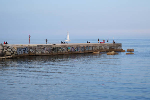 Photograph - Graffiti Fishing Wall Barcelona Spain by Toby McGuire