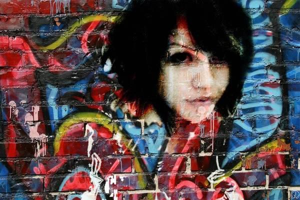 Red Brick Digital Art - Graffiti Girl by Gun Legler