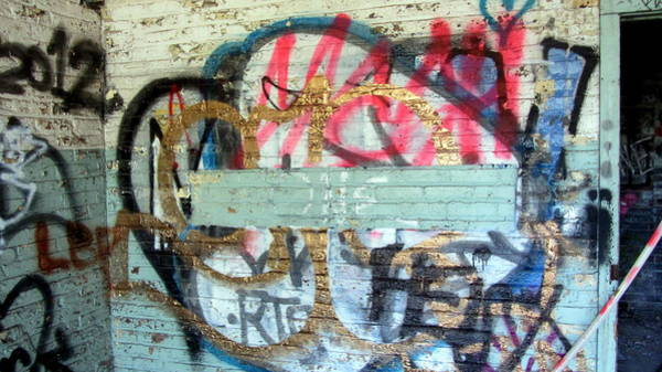 Photograph - Graffiti In Light Blue And Gold by Anita Burgermeister