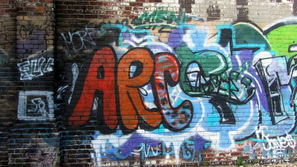 Photograph - Graffiti On Brick Arc by Anita Burgermeister