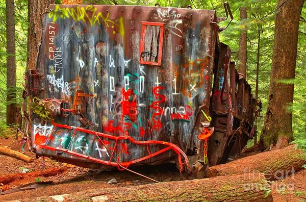 Train Derailment Photograph - Graffiti On The Wreckage by Adam Jewell