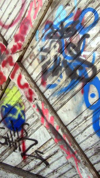 Photograph - Graffiti On Wooden Door by Anita Burgermeister
