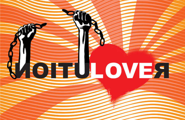 Valentines Digital Art - Graffiti Style Illustration Slogan Love Revolution by Sassan Filsoof