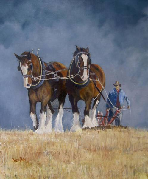 Ploughing Painting - Graft by Barry BLAKE