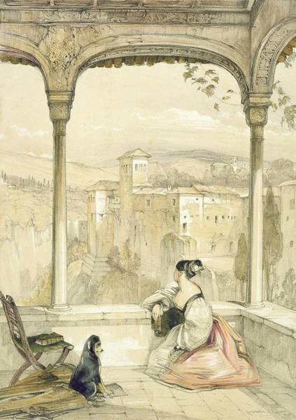 Columns Drawing - Granada , Plate 9 From Sketches by John Frederick Lewis