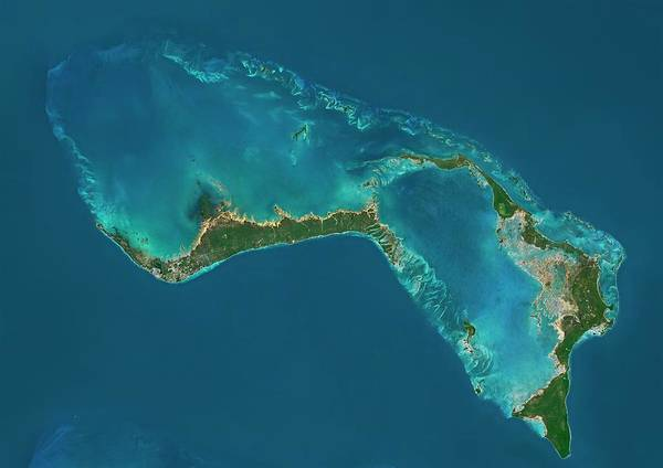 Satellite Photograph - Grand Bahama And Abaco Islands by Planetobserver/science Photo Library