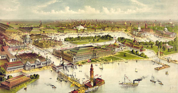 Vintage Chicago Drawing - Grand Birds Eye View Of The Grounds And Buildings by Litz Collection