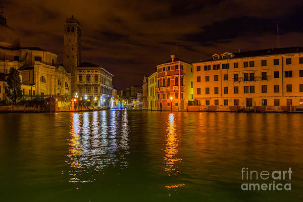 Grand Canal In Venice At Night Art Print