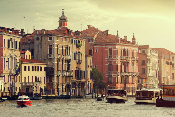 Motorboat Photograph - Grand Canal Of Venice At Sunset by Mammuth
