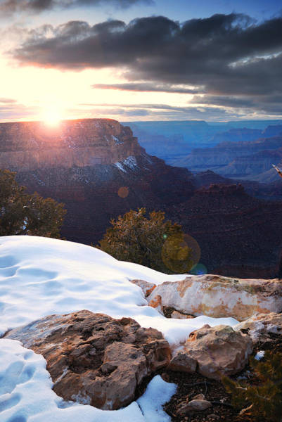 Photograph - Grand Canyon Sunrise In Winter With Snow by Songquan Deng