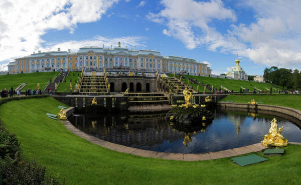 Back In The Day Photograph - Grand Cascade Fountains At Peterhof by Panoramic Images
