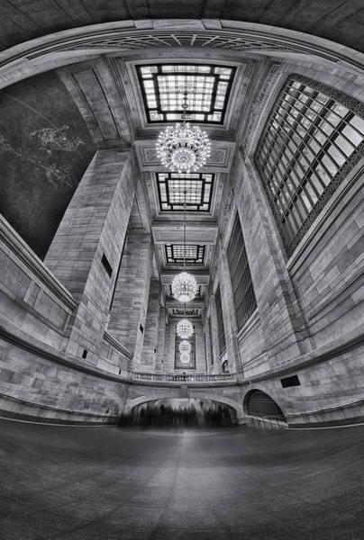 Photograph - Grand Central Corridor Bw by Susan Candelario