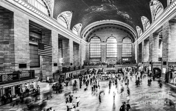 Photograph - Grand Central Station -pano Bw by Hannes Cmarits