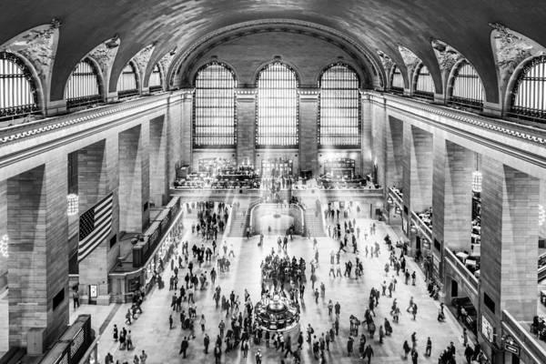 Photograph - Grand Central Terminal Birds Eye View I Bw by Susan Candelario
