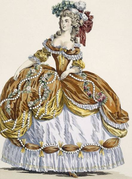 Courtiers Drawing - Grand Court Dress In New Style by Augustin de Saint-Aubin