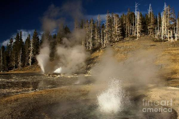 Triplets Photograph - Grand Geyser Group by Adam Jewell