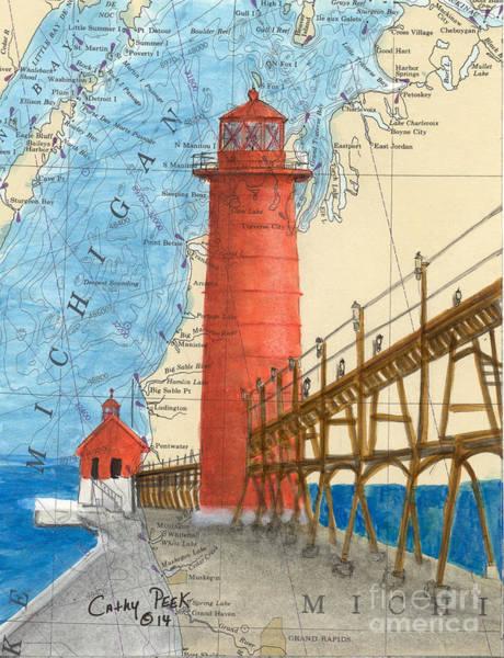 Wall Art - Painting - Grand Haven Lighthouse Mi Cathy Peek Nautical Chart Map Art by Cathy Peek