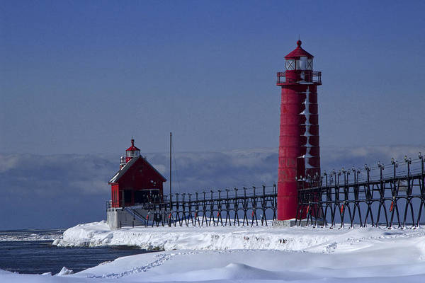 Photograph - Grand Haven Michigan Lighthouse In Winter by Randall Nyhof