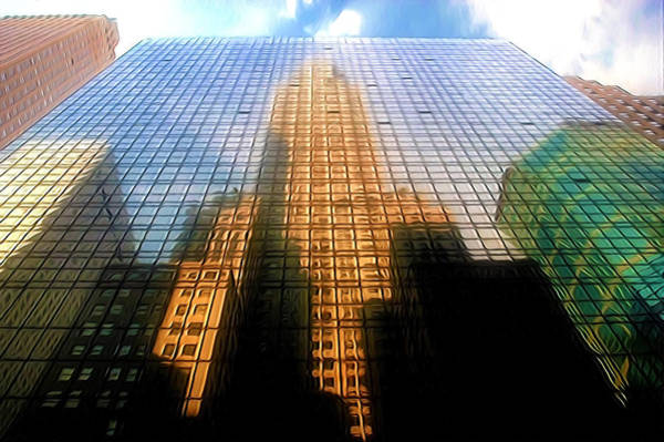 Avenue Of The Americas Painting - Grand Hyatt Hotel With Reflection Of The Chrysler Building  by Jeelan Clark