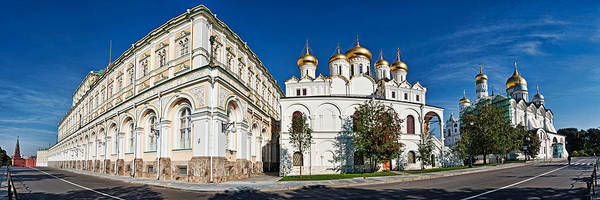 Onion Domes Photograph - Grand Kremlin Palace With Cathedrals by Panoramic Images