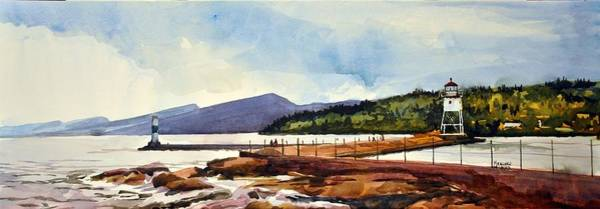 Lake Superior Painting - Grand Marais Lighthouses by Spencer Meagher