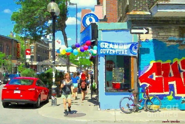 Painting - Grand Opening Blue Boy Frozen Yogurt Icecream Mont Royal Colorful Cafe Corner Montreal Art C Spandau by Carole Spandau