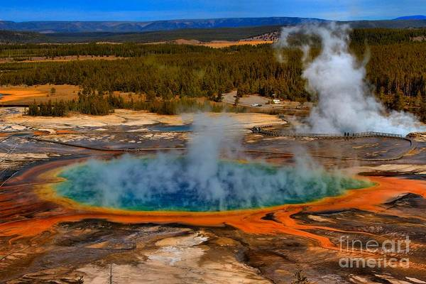Photograph - Grand Prismatic Spring by Adam Jewell