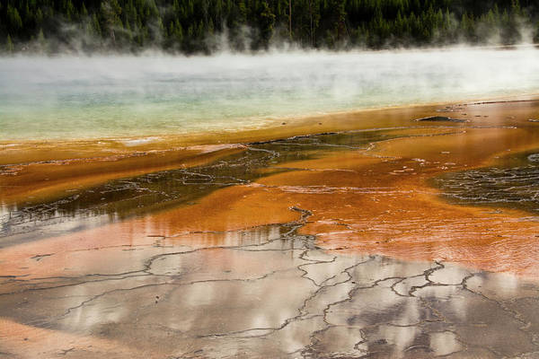 Deposits Wall Art - Photograph - Grand Prismatic Spring, Middle Geyser by Michel Hersen
