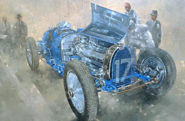 Blue Bonnets Painting - Grand Prix Bugatti by Peter Miller