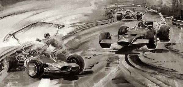 Car Accident Painting - Grand Prix Problems by Graham Coton